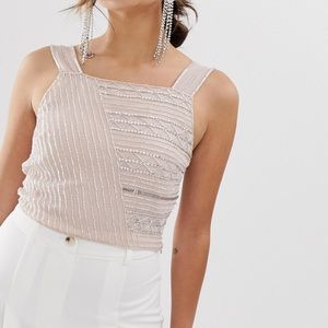 Miss selfridge beaded top in nude 6 NWT